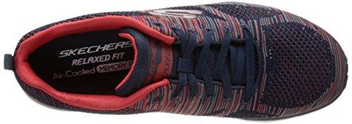 Skechers Air Infinity Rapid Fire, Fitness Homme Bleu (Marine/Rouge)