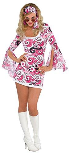 Faschingsfete Erwachsene Fashion Pink Hippiekostüm, Mehrfarbig, Größe -