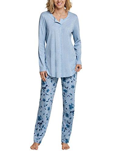 Schiesser Damen Zweiteiliger Schlafanzug Anzug lang, Blau (Hellblau 805), 42