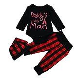 Babykleidung Babymode Longra Baby strampler Set Jungen langarm Brief Bodys und Baby Hosen mit Hut 3 Stücke neugeborene kleidung (Black, 90CM 12Monate)