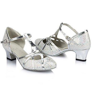 Scarpe da ballo-Personalizzabile-Da donna-Balli latino-americani-Tacco a rocchetto-Brillantini-Argento Dorato Gold
