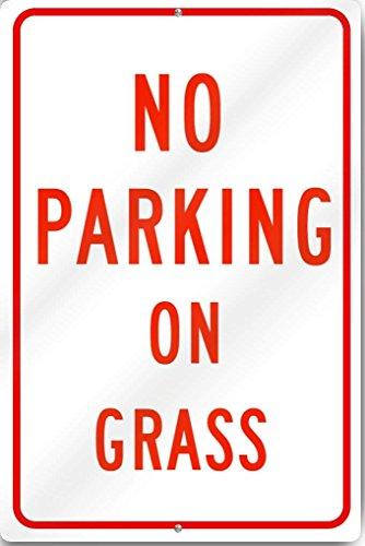 Eugene49Mor No Parking auf Gras Schild 30,5cm Breit x 45,7cm Hoch Dickem Aluminium Metall Metall Schild Reflektierende - Metall John Deere Spielzeug