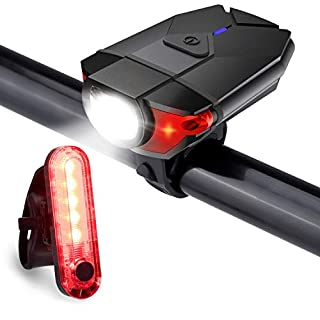 Akale Bike Lights, USB Rechargeable Bicycle Light Set, 4 Modes, IPX5 Waterproof Headlight Taillight Combinations, for Night Drivers,Cycling and Camping (USB Cable Included)