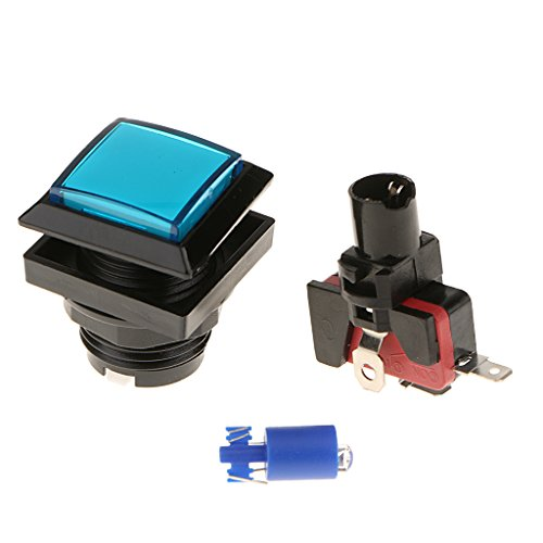 MagiDeal 33mm Taster LED Push Button für Arcade Games - Blau Blau Push-button
