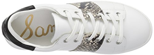 Sam Edelman Womens Marquette Fashion Sneaker White/Putty Snake/Black