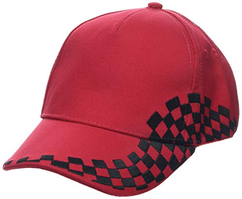 BEECHFIELD - Casquette grand prix style F1 broderie damier- B159 rouge