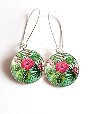 Boucles d'oreilles cabochon fleurs tropicales hybicus palmier tropiques