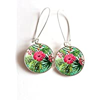 Ricci di orecchi cabochon fiori tropicali hybiscus palma tropichi