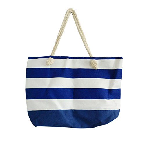 Beach-Bag-With-Inner-Zipper-Pocket-Medium-Sized-Mesh-Cotton-Striped-Tote-Bag-By-Kurtzy