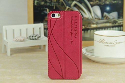 iPhone 5 5S Handycover, TOTOOSE für iPhone 5 5S Ultra dünn PU Leder Hülle mit View Windows Flip Stand Funktion Weiches TPU Silikon Abdeckung Schützend Schale Weiß Rosig