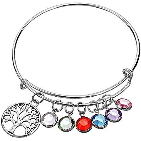 mainbead Árbol de la vida colgante chapado en plata ajustable circular color piedra pulseras