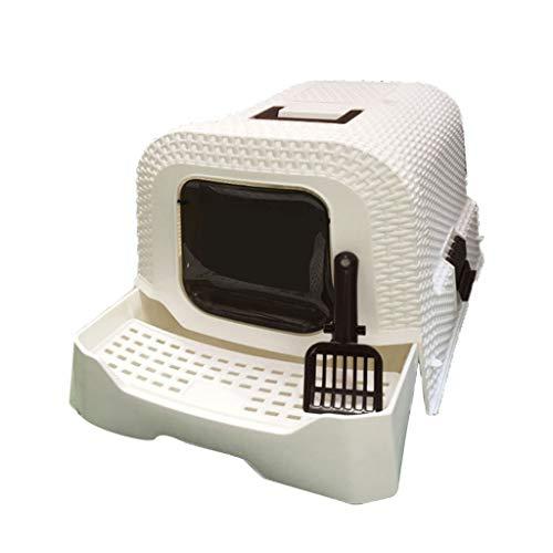 Toilette per Gatti Scatola di Rifiuti Curver Gatto Flip Door Litter Tray Scatola Toilette con Cappuccio (Colore : B)