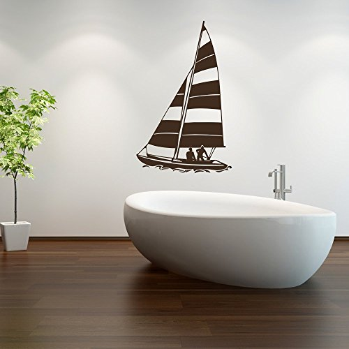 malango® Wandtattoo - Segelboot Wand Tattoo See Meer Segeln Dekoration Wandaufkleber Aufkleber ca. 25 x 40 cm anthrazit