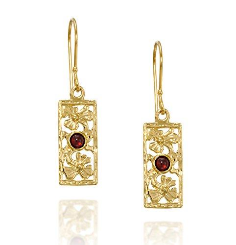 Retro-Ohrringe, 14 kt vergoldet, Silber, rechteckig, dekoratives Blumendesign, echter Granat