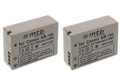 2x Akku NB-10L für Canon PowerShot G15, G16, G1X, SX40 HS, SX50 HS, SX60 HS