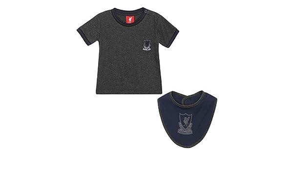 Bib Set Charcoal LFC Official Liverpool FC Baby Crest T-Shirt