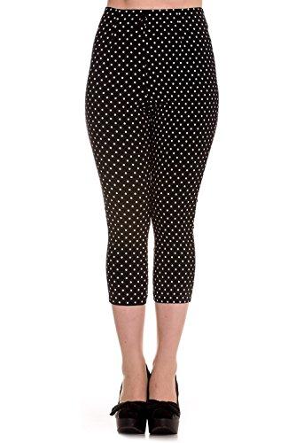Pantalones piratas de Hell Bunny Negro Kay Lunares de estilo Vintage de los 50s - (XL - ES 44)