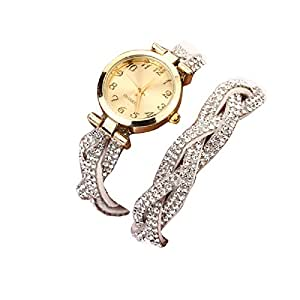 Tonsee® Femmes Rivet Cristal Bracelet Quartz tressé enroulement Wrap montre-bracelet
