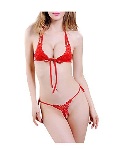 Jueshanzj Damen Spitze Bikini Set Mini Micro BH Bra String-Tanga Set Mini Bikini Rot Einheitsgröße