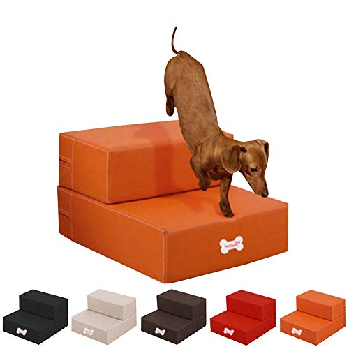 Kicat® Escaleras de Cuero para Mascotas Impermeables 2 Niveles Escaleras Plegables para Perros Easy Step con Funda extraíble (005: Naranja)