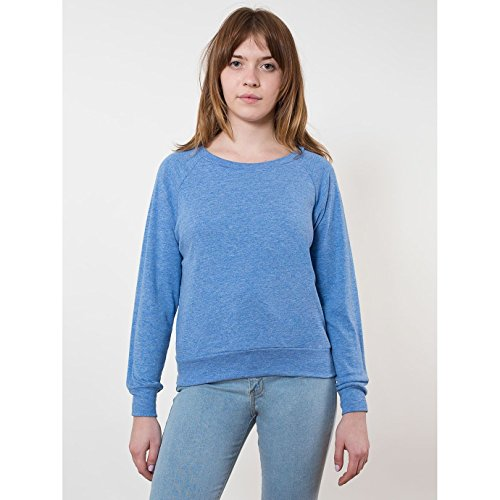 american-apparel-womens-ladies-lightweight-tri-blend-pullover-sweater-jumper-m-athletic-blue