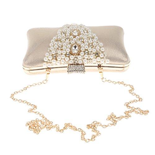 Blesiya Diamante Perlen Abend Handtasche Kupplung Handtasche Damen Schulter Kette Tasche - Gold, 20 x 5 x 12 cm (Gold Vintage Handtasche)