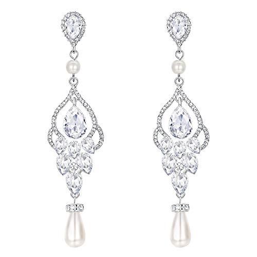 EVER FAITH Damen Kristall Simulierte Perle Braut Floral Blatt Teardrop Lange Baumeln Ohrringe Klar Silber-Ton