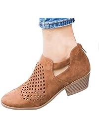 74c770cd8 IOSHAPO Mujer Sandalias Color sólido Punta Redonda Zapatos de tacón bajo  con Cremallera Trasera