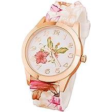 Culater® las mujeres de silicona reloj de la muchacha de flor impresa relojes de pulsera de cuarzo causal