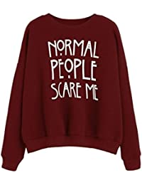 "Ineternet Femmes ""Normal People Scare Me"" Impression Sweatshirt Manches longues Automne"