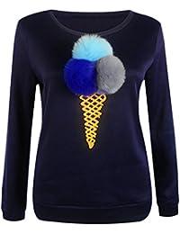 89f0f8be34562c Donne Casual Lungo Manica T-shirt Rotondo Collo Stampa Pullover Camicia  Maglietta