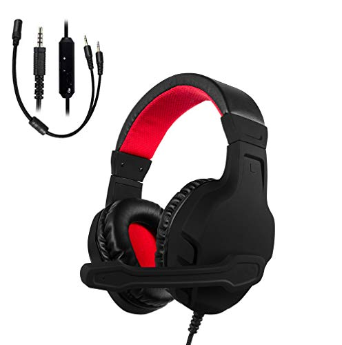 Shengy Xbox One PS4 Gaming-Headset, Geräuschunterdrückung, Over-Ear-Kopfhörer, Mikrofon, bequem, leicht, einfache Lautstärkeregelung für X Playstation 4 Computer Laptop Schwarz/Red
