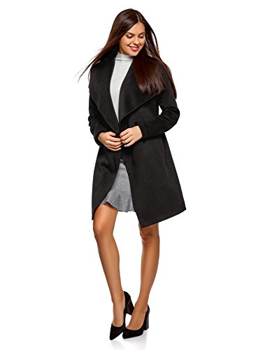 oodji Ultra Damen Verschlussloser Mantel mit Gürtel, Schwarz, DE 42/EU 44/XL