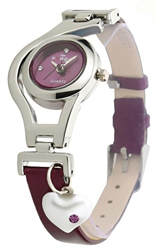 Dk Heart Pearl Dangle Silver Case Purpal Leather Strap Analogue Purple Dial Wrist Watch For Girls – Womens (Dk1207)