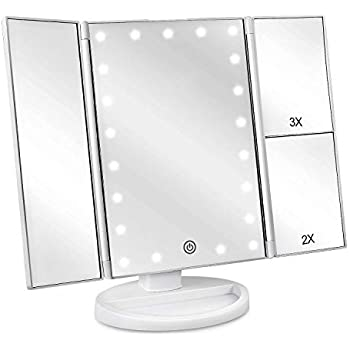 Weily Lighted Makeup Mirror Tri Fold Vanity Mirror With