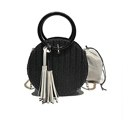 Chain Handle Bag (GMYANDJB Tassel Chain Straw Beach Bags Round Handle Crossbody Bag for Women Composite Flap Purse Small Leather Circular Handbags INS)