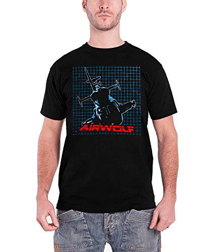 Officially Licensed Merchandise Airwolf Airwolf Pattern T-Shirt (Black) Schwarz