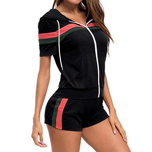 MINTLIMIT Damen Trainingsanzug Kurze Ärmel Freizeitanzug Jogginganzug Sportanzug Sportjacke Streifen Reißverschluss Kapuzenpullover Hemd Hüfte Hosen Schwarz XL -