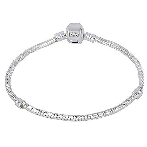 Bracelet argenté plaqué argent de 3 mm pour les charmes européens s'adapte à Swarovski Pandora Longueur 8in 20cm