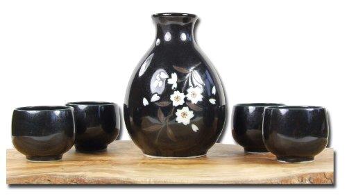 Sake-set Japanische schwarz metallic Pflaumenblüte, 4 Tassen