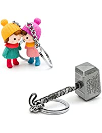 Three Shades Thor Hammer Marvel Avengers Superhero Silver Design Key Chain & Winter Couple Keychain (Bike & Car)
