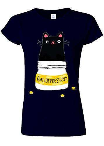 Royal Purple T-shirt (Cute Cat Kitten Antidepressant Novelty Navy Women Damen Top T-shirt Verschiedene Farben-L)
