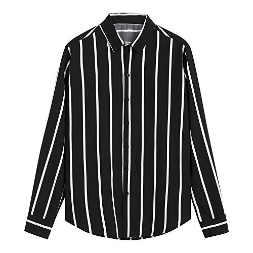 DNOQN Coole Shirts Herren Langarmshirt Männer Mode Shirts Beiläufige Lange Hülsen Gestreifte Oberseiten Lösen Beiläufige Bluse XXL