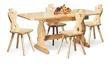 Tavolo Rustico allungabile con 4 sedie cuore-Colore Miele: Amazon ...