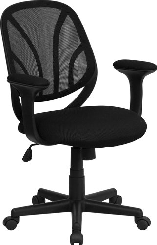 Flash Möbel mid-Back Aufgabe Mesh Drehstuhl mit Armlehnen, Metall, schwarz, 62.23X Maße X Wall cm Flash Wall