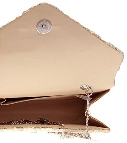 H&G Ladies Satin Lace Clutch Bag Shoulder Chain Elegant Wedding Evening Womens - Gold Gold