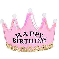 Idea Regalo - Frcolor Cappello Compleanno Happy Birthday Buon Compleanno Diadema Corona con Luce Led (Rosa)