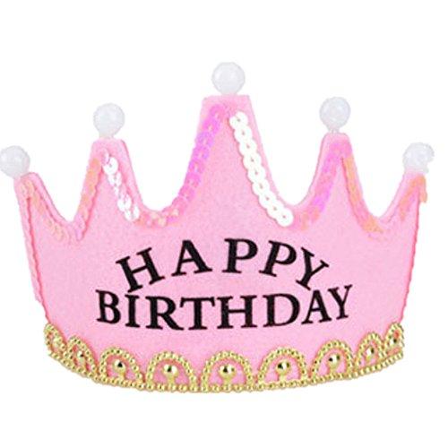 Frcolor Geburtstag Party Krone mit LED Licht (Erwachsenen Happy Birthday)