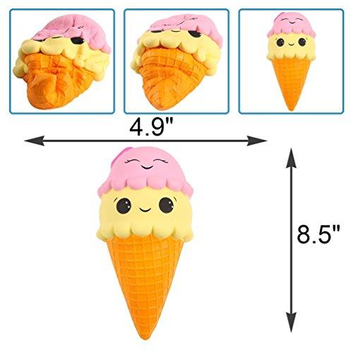 Juguetes blandos HBT juguetes de comida simulados de regalo de cumpleaños de squishies subidos lentos de Jumbo para niños y adultos (comida helada)
