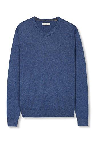 ESPRIT Herren Pullover Basic-Regular Fit Blau (DARK BLUE 405)